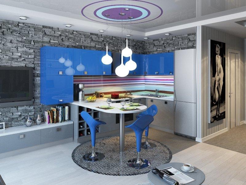 синяя угловая кухня 10 кв.м