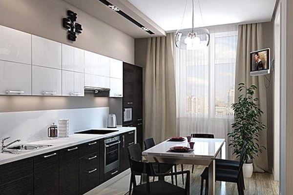 чёрно-белая кухня 3 на 3 метра