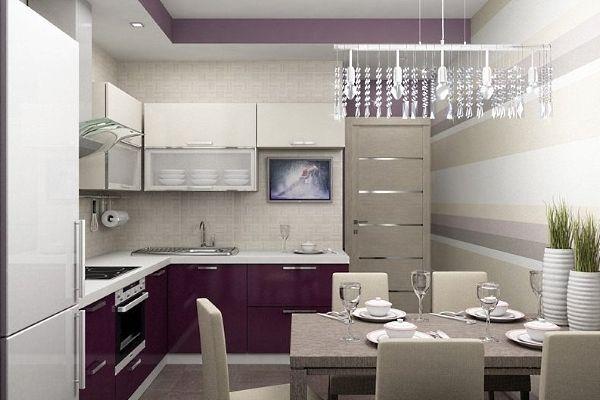 фиолетовая кухня 3 на 3 метра