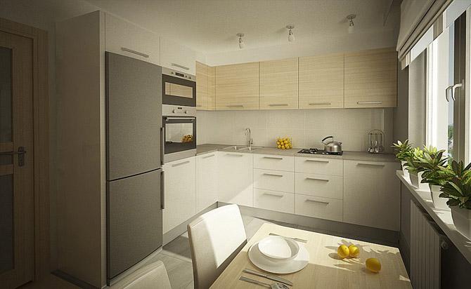 серо-бежевая кухня 3 на 3 метра