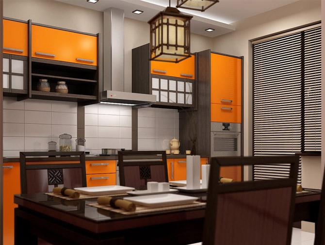 оранжевая кухня 3 на 3 метра