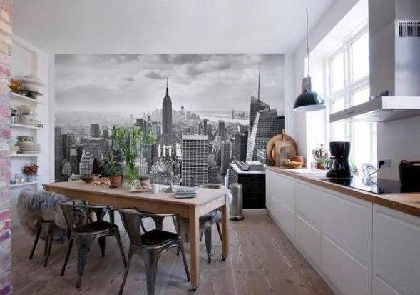 кухня 3 на 3 метра с фотообоями