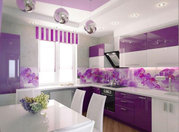кухня 3 на 3 метра с фартуком с орхидеями