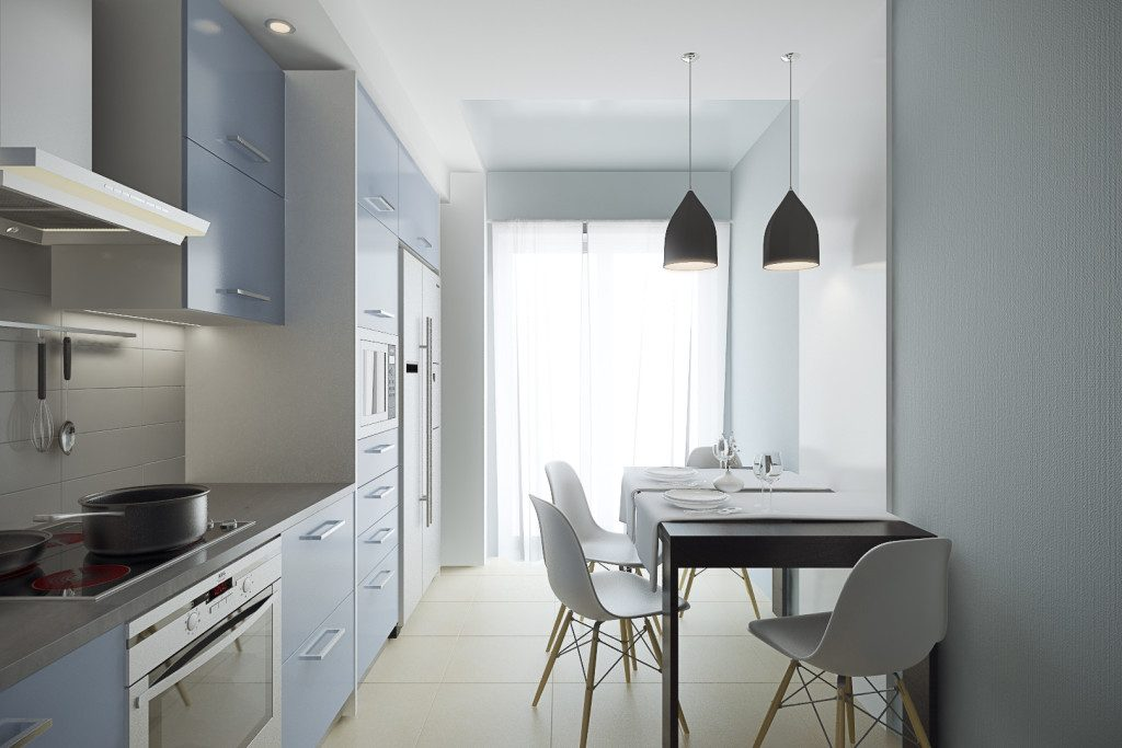 голубая кухня 3 на 3