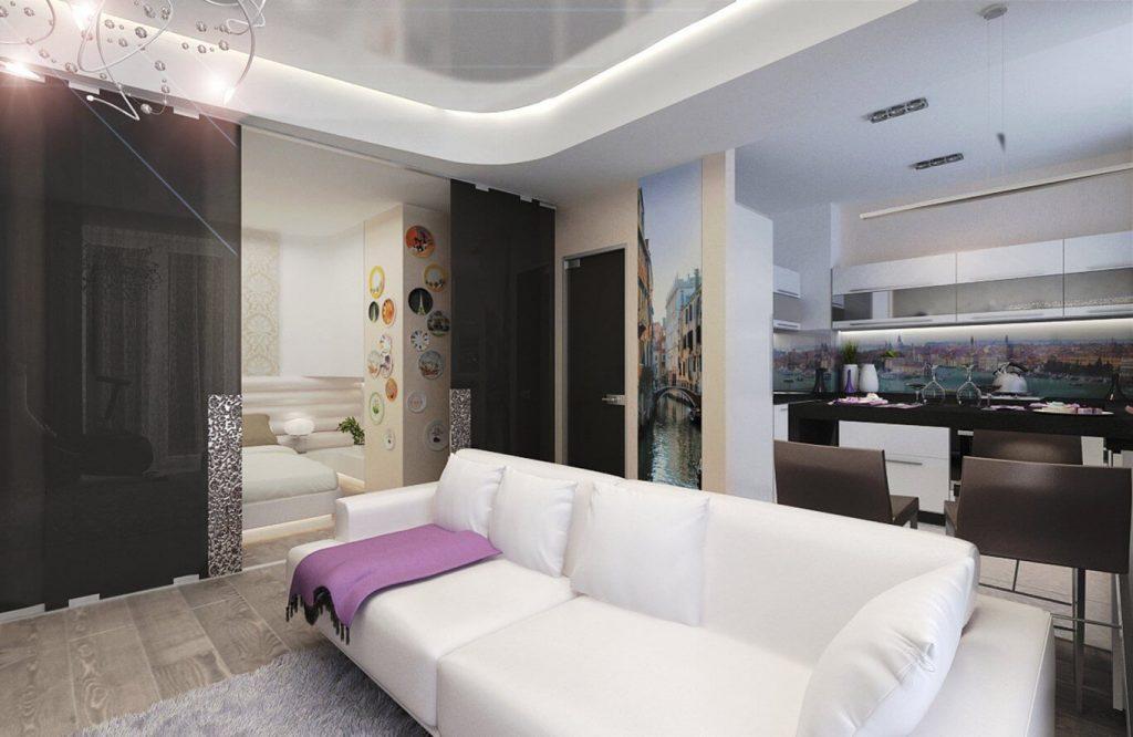 Дизайн кухни гостиной 17 кв. м с зонированием