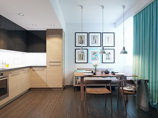 Дизайн кухни гостиной 17 кв. м