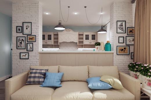 зонирование кухни-гостиной 17 кв.м. при помощи перестенка