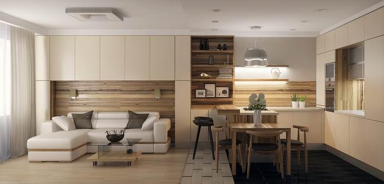 зонирование кухни-гостиной 17 кв.м. с помощью мебели