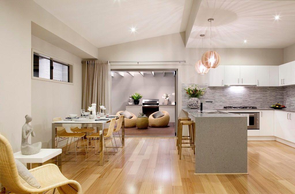зонирование островной кухни-гостиной 17 кв.м.