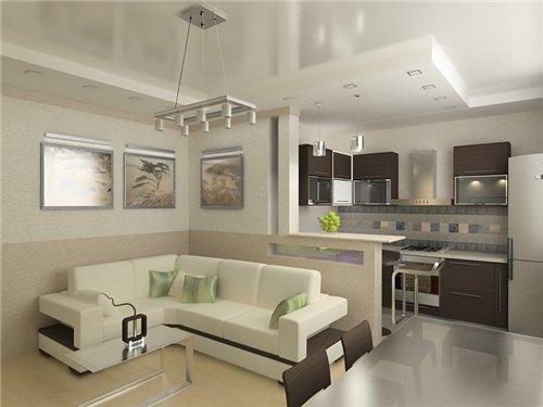 зонирование перестенком кухни-гостиной 17 кв.м.