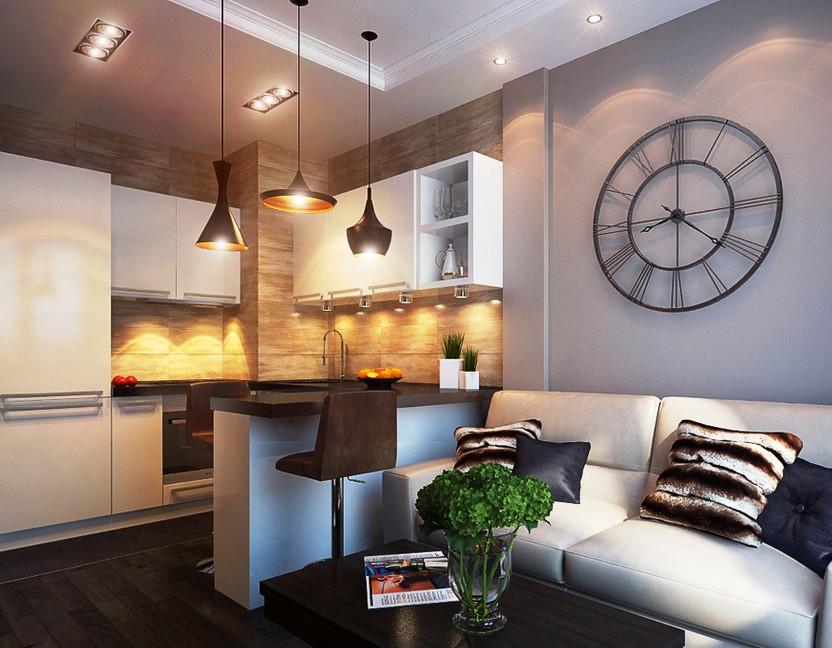 зонирование освещением кухни-гостиной 17 кв.м.