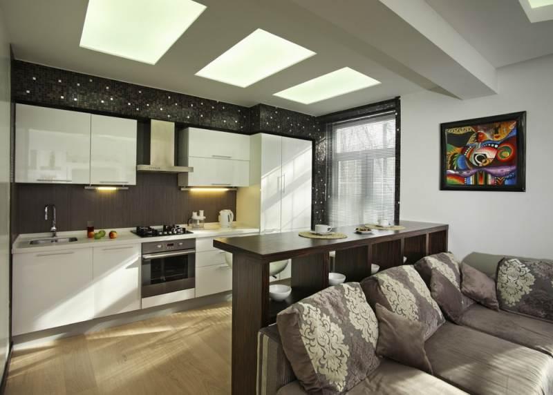 зонирование полкой кухни-гостиной 17 кв.м.