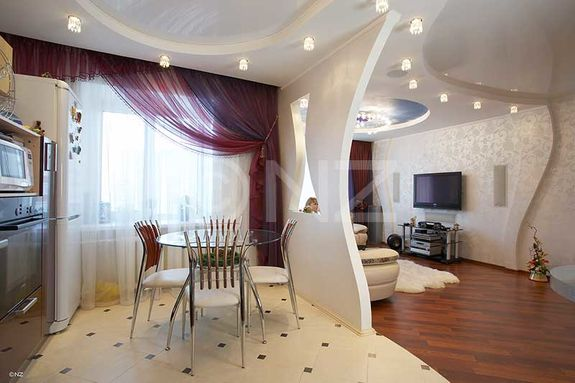 зонирование декоративным перестенком кухни-гостиной 17 кв.м.