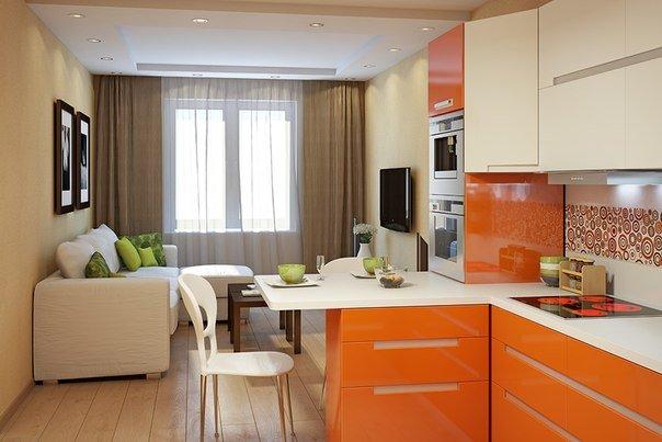 зонирование оранжевой кухни-гостиной 17 кв.м.