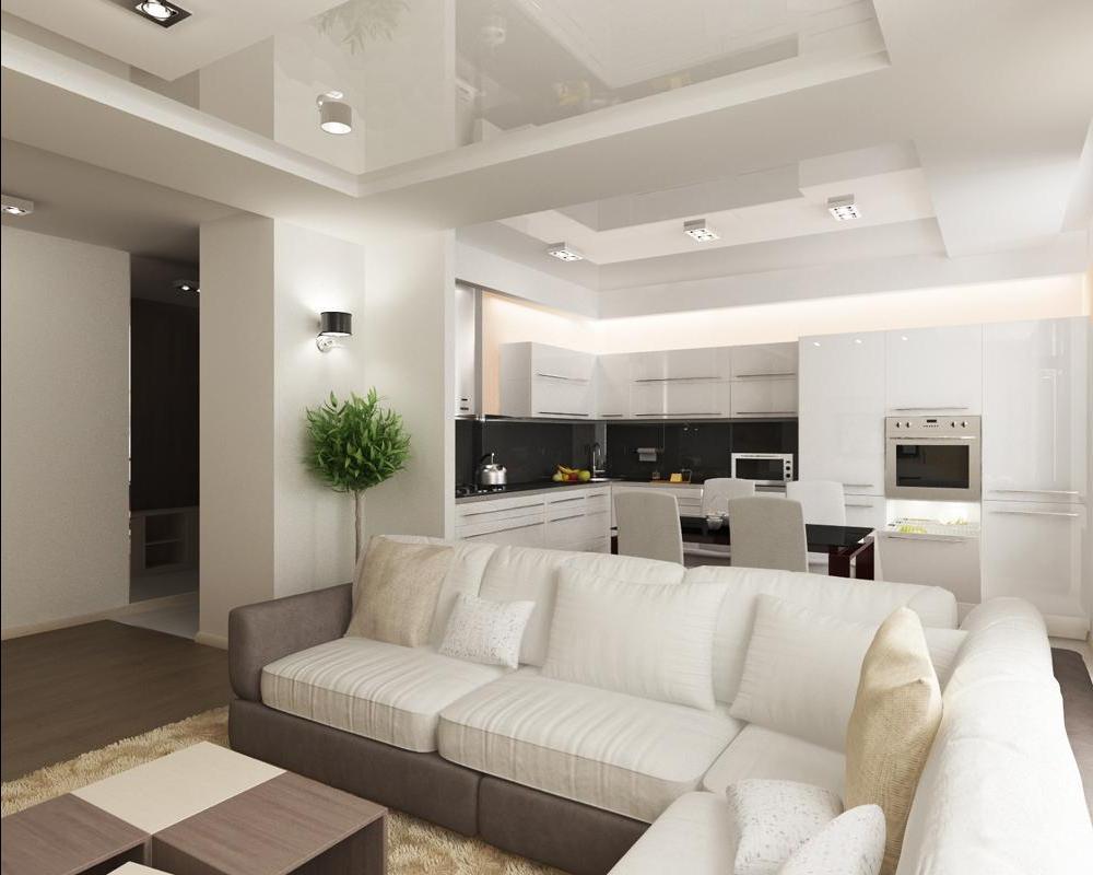 зонирование мебелью кухни-гостиной 17 кв.м.