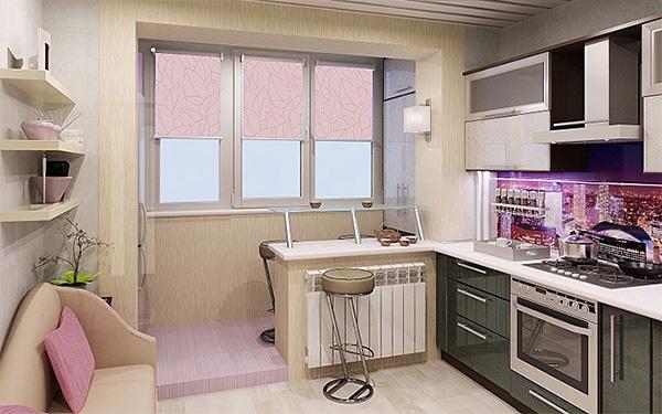 кухня на балконе с барной стойкой
