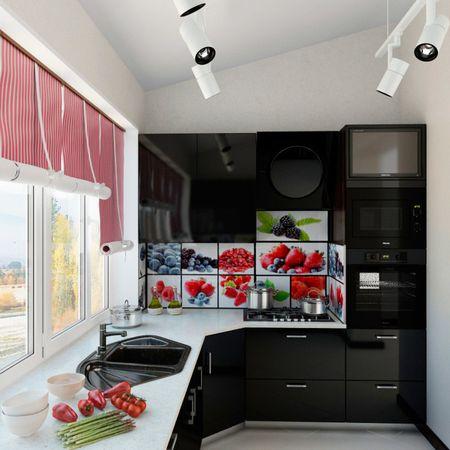 чёрная кухня на балконе