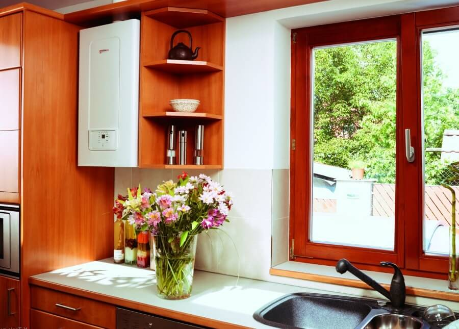 газовый котёл в интерьере кухни