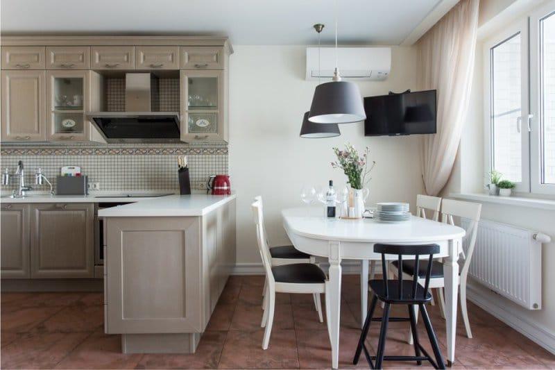 кухня столовая в светлых тонах