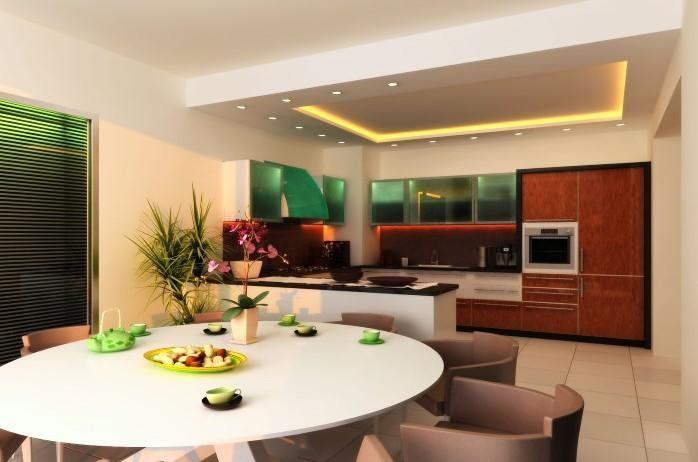 кухня столовая с круглым столом