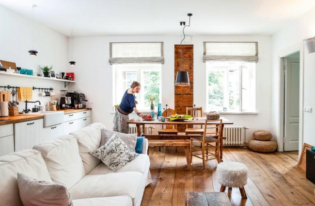 кухня столовая совмещённая с гостиной