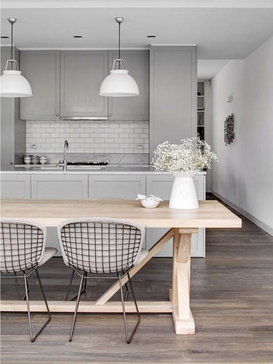 кухня столовая в серых тонах