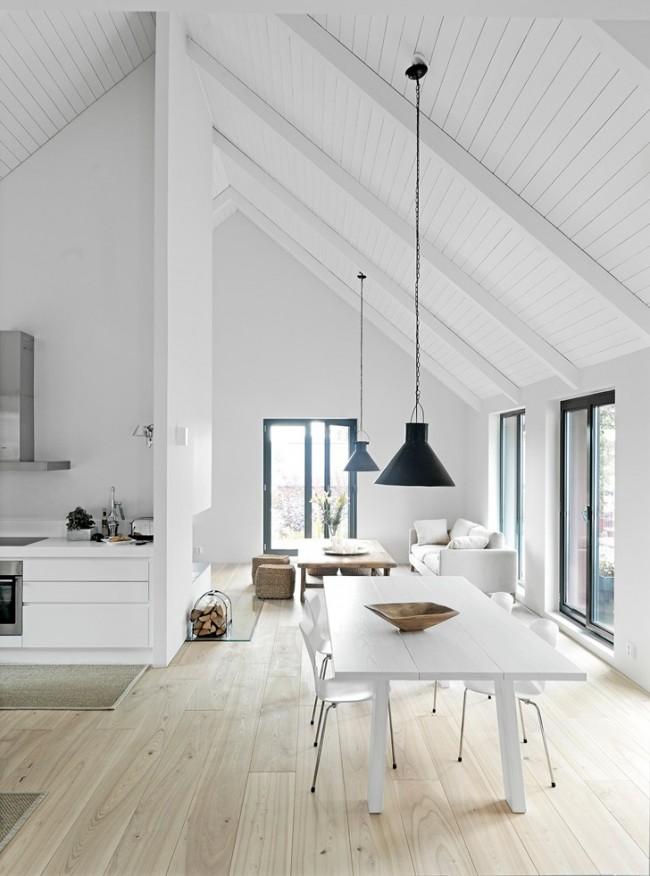 кухня столовая под крышей