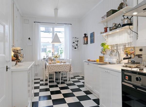 чёрно-белая плитка на кухне в скандинавском стиле