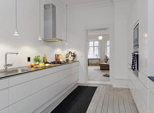 освещение рабочей зоны на кухне в скандинавском стиле