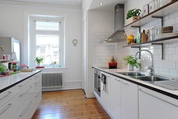 кирпичная кладка на кухне в скандинавском стиле