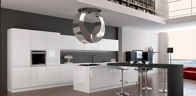 белый гарнитур на кухне в стиле хай тек 2017