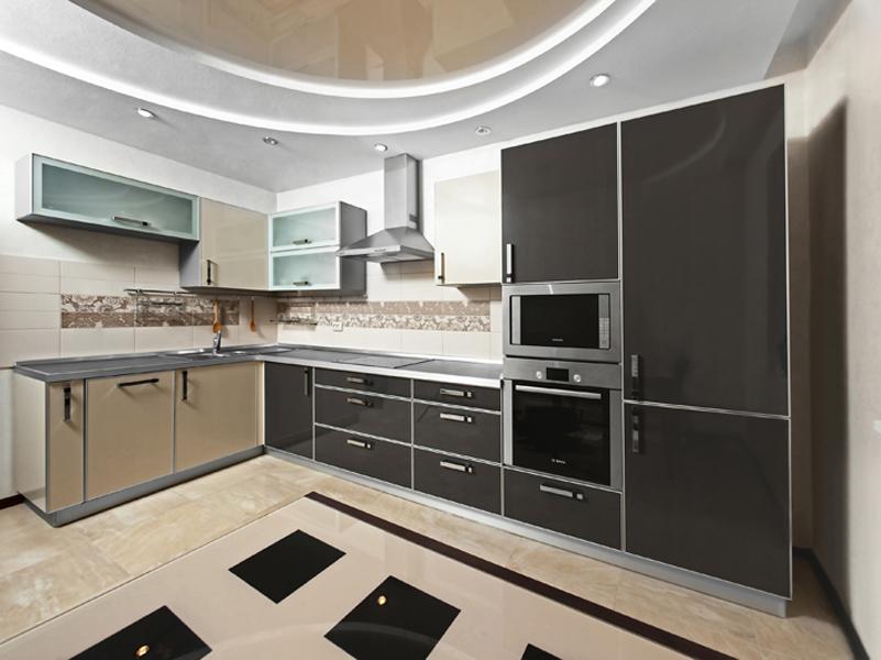 гипсокартонный потолок на кухне в стиле хай тек 2017