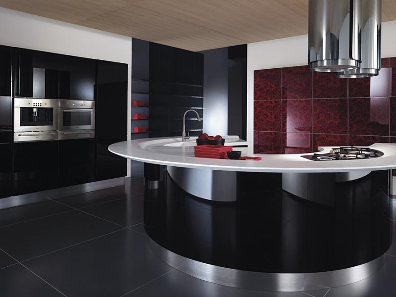 чёрный и бордовый на кухне в стиле хай тек 2017