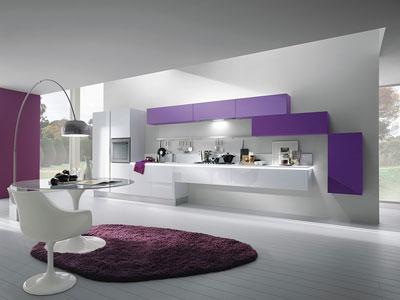 фиолетовый на кухне в стиле хай тек 2017