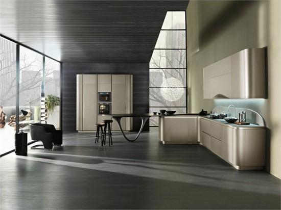 серый на кухне в стиле хай тек 2017