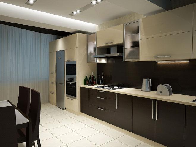 коричневый и бежевый на кухне в стиле хай тек 2017