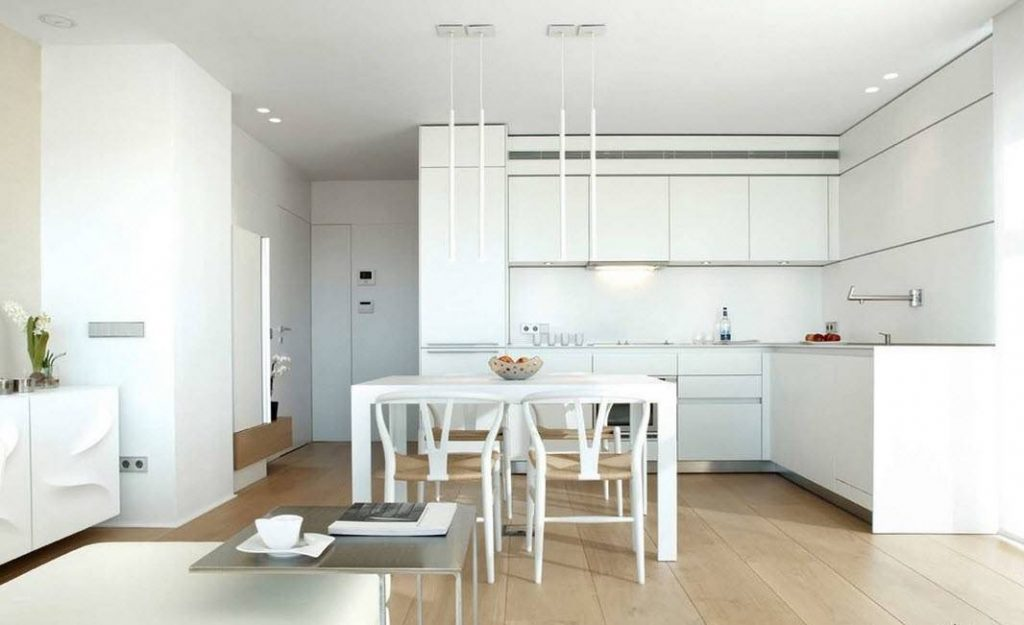 белый интерьер на кухне в стиле хай тек 2017