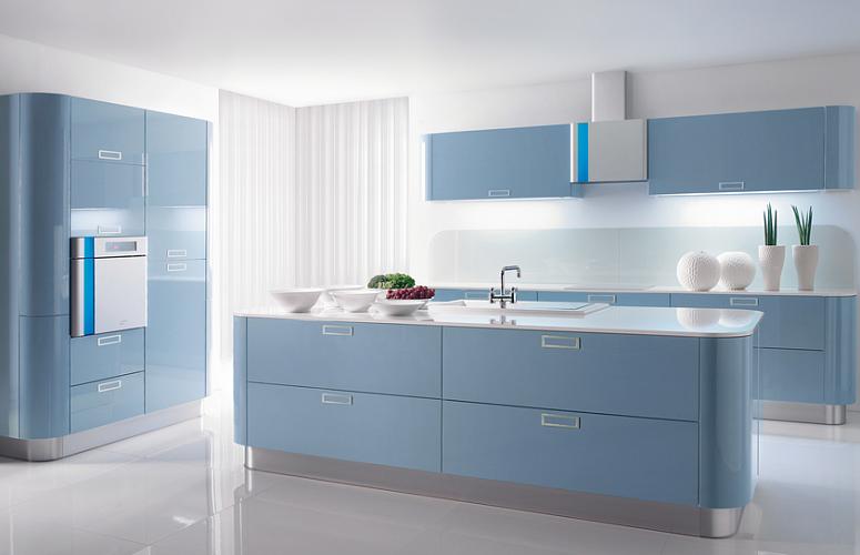 голубая кухня в стиле минимализм