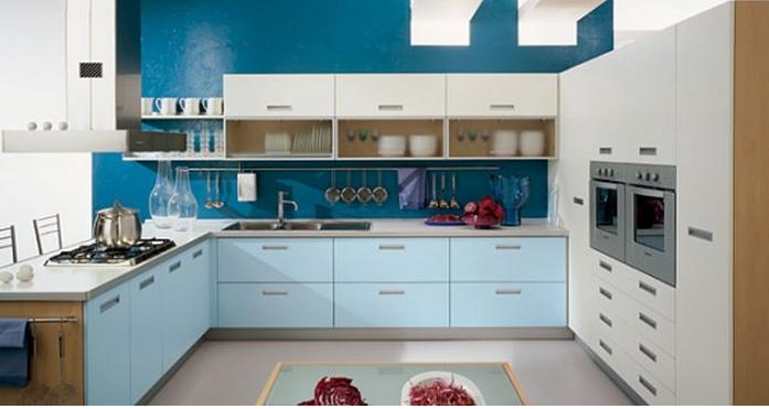 голубой цвет гарнитура в стиле минимализм