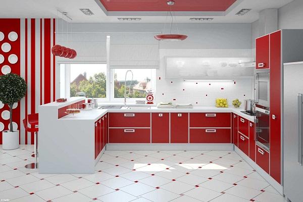 красный в интерьере кухни в стиле минимализм