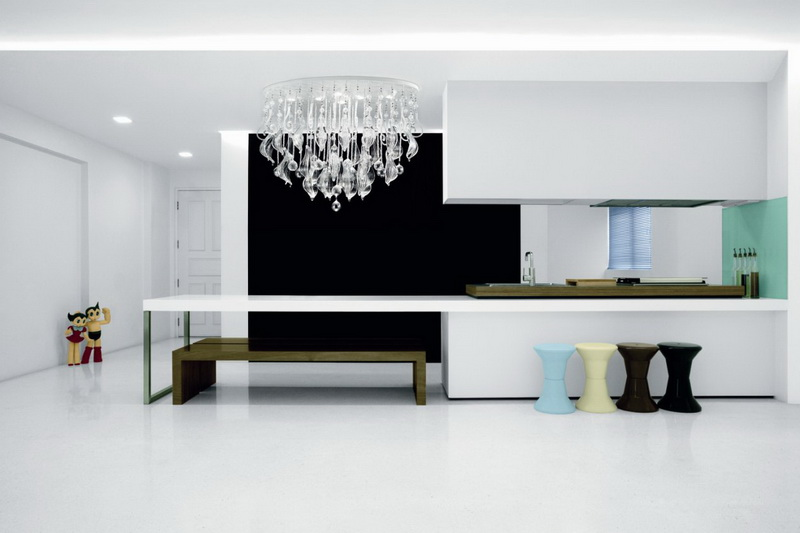люстра в минималистическом стиле кухни