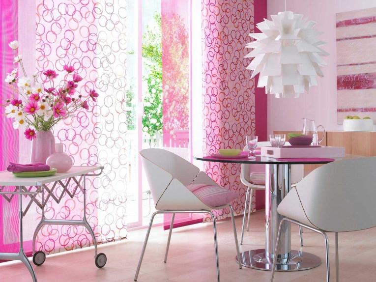 розовые японские шторы для кухни 2017