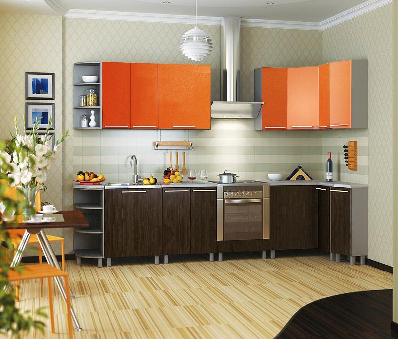 оранжевая кухня с коричневым