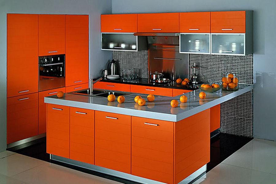 оранжево-серая кухня