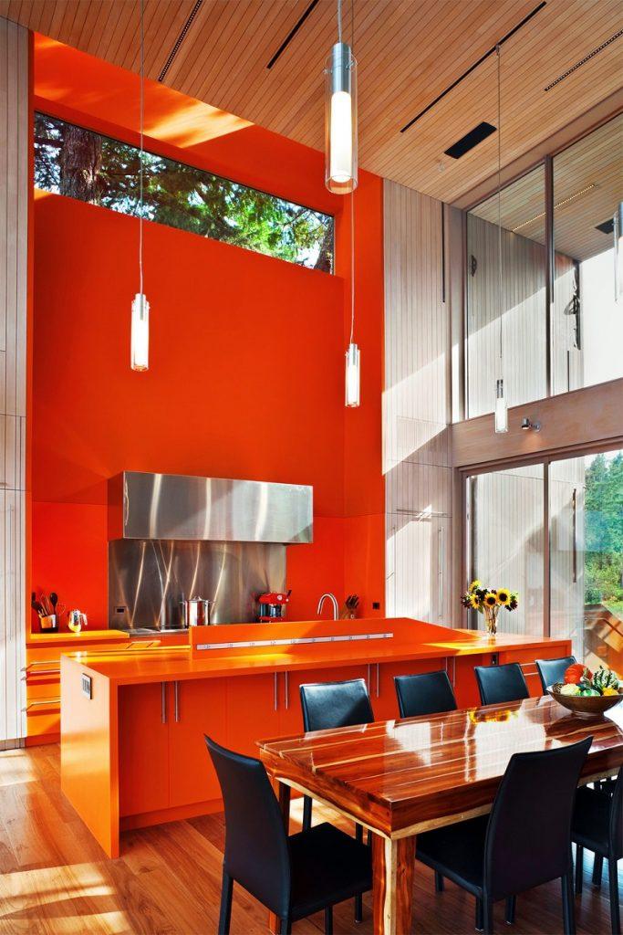 оранжевый декор на кухне