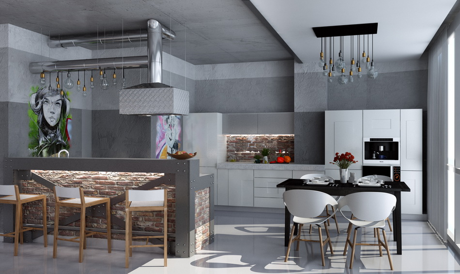потолок на кухне в стиле лофт