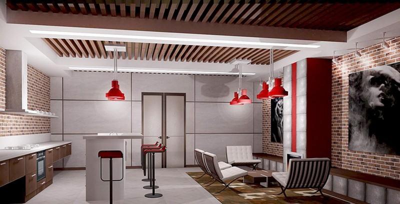 потолок на кухне с деревянными вставками