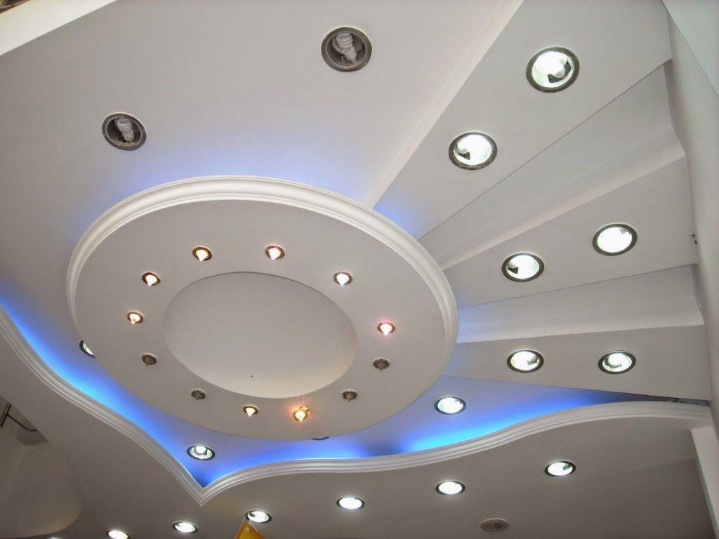 гипсокартонный многоуровневый потолок на кухне