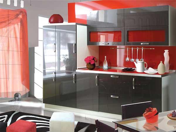 красный цвет на кухне 3 метра