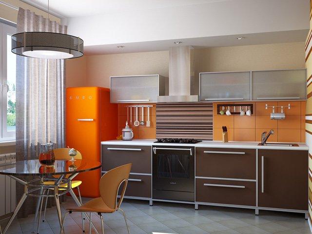 оранжевые нотки на кухне 3 метра